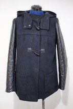 Funky Black Faux Leather Sleeve Navy Coat UK12 Covent Garden-toggle/fastener - $58.06