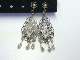 Vintage Dangling Filigree Sterling Silver Earrings Israel Screwback - $42.75