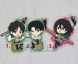 Anime Attack on Titan Eren Mikasa Levi Rivaille Keychain Rubber Strap Charm Gift - $6.98