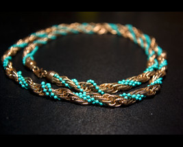 """Copper Tone and Turquoise Colored Twist Beads Necklace, 39"""" Twisted Long... - $25.00"""