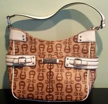 Pre Owned Women's Tan & Brown Etienne Aigner Logo 35971 Hand Bag - $21.78