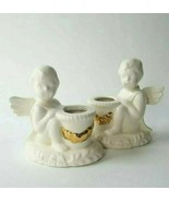 Set of 2 Mud Pie USA Cherub Angel Stick Candle Holder White Ceramic Gold... - $19.50