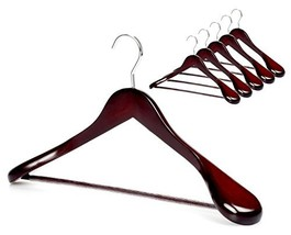 TOPIA HANGER Set of 6 Luxury Mahogany Wooden Coat Hangers, Premium Wood ... - $37.14