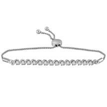10k White Gold Womens Round Pave-set Diamond Single Row Bolo Bracelet 1/... - $978.50