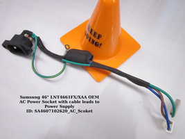 """Samsung 46"""" LNT4661FX/XAA OEM AC Power Socket with cable leads to Power Supply - $14.95"""