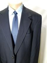 Bill Blass Menswear Navy Blue Pure Wool 2 Button 1 Vent Blazer Jacket 44R Euc - $21.55