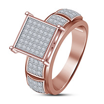 Engagement Bridal Ring 14K Rose Gold Over Pure 925 Silver Cushion Cut Di... - $78.99