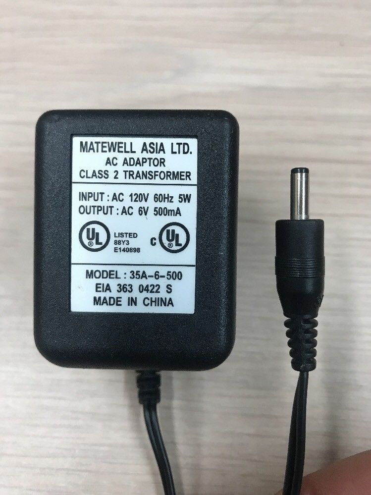 Matewell 35A-6-500 AC Power Supply Adapter With On/Off Switch 6VAC 500mA     N9