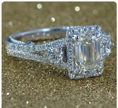 Certified 3.70Ct White Emerald Cut Diamond Engagement Ring Solid 14K Whi... - $291.36