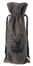"Raz 13.5"" Solid Gray Reindeer Silhouette Wine Bottle Cover Bag with Draw... - $9.64"