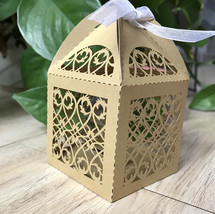 100pcs Begie Gold Lase Cut Wedding Favor Boxes with Ribbon Candy Chocola... - $34.00