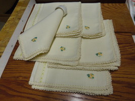CREAM COLORED NAPKINS WITH PRETTY YELLOW FLOWERS IN CORNER - $12.99