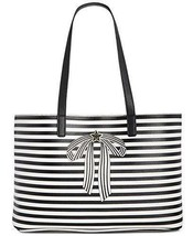 Tommy Hilfiger NWT Bow Pebble Stripes Faux Leather Star Logo Shopper Tote - $49.24