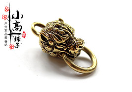 Solid EDC Brass Lion Head Wallet Accessories Lucky Clasp craft Keychain ... - $20.98