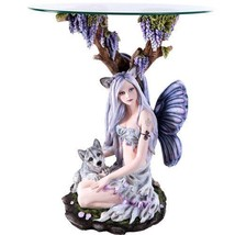 Beautiful Wolf Fairy with Wolf Cub Resting Under Grape Tea Accent Table ... - $600.00