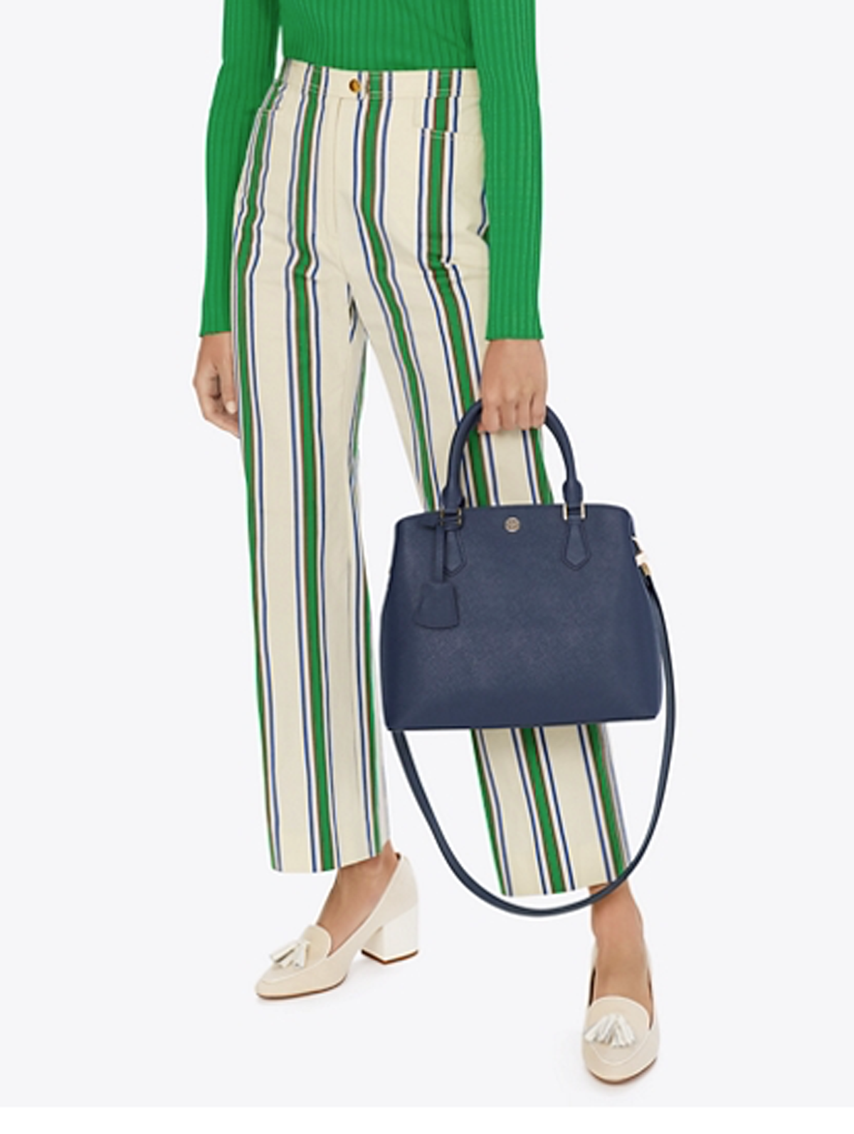 Nwt Tory Burch Navy Saffiano Leder Robinson Triple-Compartment Tote $ 458