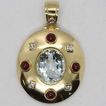 18K YELLOW GOLD NECKLACE BIG OVAL AQUAMARINE RUBY DIAMOND PENDANT SQUARE CHAIN image 4