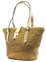 BRAND NEW WOMEN'S MICHAEL KORS CECELIA NATURAL GOLD LARGE STRAW TOTE HAN... - $105.00