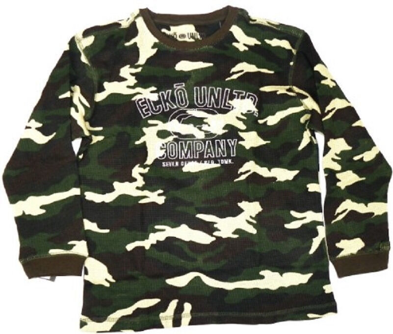 Boy's 4-7 Ecko Unltd. Shirt Long Sleeve Thermal Waffle Knit Camo Tee T-Shirt NEW