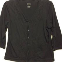 Talbots Womens Cardigan Sweater Black Embroidered 3/4 Sleeve V-Neck Cott... - $18.80