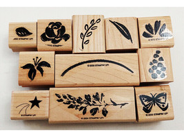 Stampin' Up! Watercolor Garden Stamp Set, Rubber On Wood, Set of 11