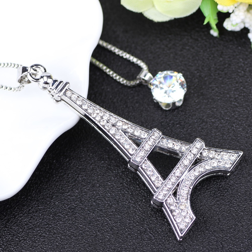 Chain 2017 New Colorful Crystal Eiffel Tower Building necklace Lock Pendant Allo image 3
