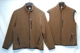 Set~ Classic AIGLE Jacket+Vest Men's Brown Wool Blend Full Zip Coat Large - $99.99