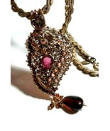 VINTAGE MIRIAM HASKELL NECKLACE & BOLLYWOOD FAKE GARNET GLASS JEWELED PE... - $95.00