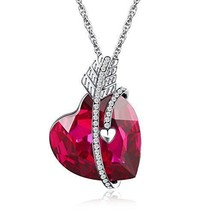 Valentines Day Gift For Her Necklace Arrow Heart Swar Crystal Pendant Gi... - $40.56