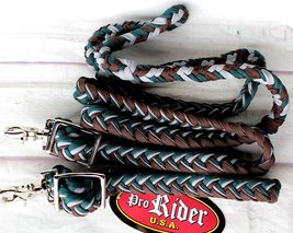 PRORIDER Roping Knotted Horse Tack Western Barrel Reins Nylon Braided Pink 60732