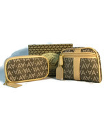 Avon Brown Cosmetic Bag & Travel Jewelry Pouch Set Signature Collection  - £19.18 GBP
