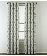 (1) JCPenney Casey Jacquard PEWTER CHARCOAL GRAY 7313191 Grommet Curtain... - $64.67