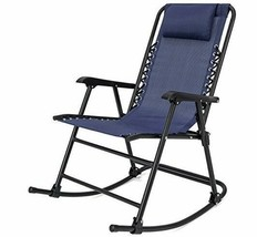Folding Rocking Chair Patio Lawn Zero Gravity Blue Sling Back Outdoor Fu... - $74.99