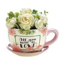 "*18328B  Pink Flamingo 8 1/4"" Dolomite Teacup Planter - $21.05"