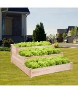 3 Tier Elevated Wooden Vegetable Garden Bed - Color: Wood - £140.64 GBP