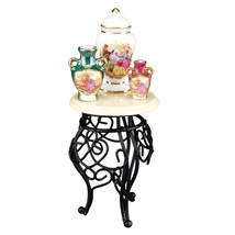 Dollhouse Wrought Iron Side Table w Vases 1.704/5 Reutter Miniature 2018 - $30.80