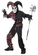 Boys Evil Jester Clown Red Black Skeleton Zombie Halloween Costume-size 12/14 - $37.62