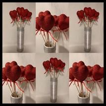6 pcs 27cm/11 inch Decorative glitter heart sticks for a vase, Table dec... - $25.00