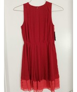 INC International Concepts Deep Red Pleated Chiffon Dress Size S New w/Tags - $24.74
