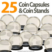 25 Coin Capsules & 25 Coin Stands for QUARTERS Direct Fit Airtight 24mm ... - $19.75