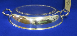 Vintage Silverplate Replacement Lid Cover Dome Oval Shape 2 Handles Leaf... - $8.90