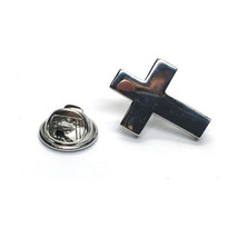 Rhodium Plated Christian Cross clip on rear Pin ,Badge / tie pin unisex gift gif