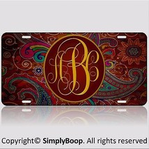Paisley Personalized Your Initials Monogrammed Vanity License Plate Car ... - $14.84