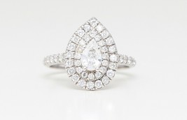 14K White Pear Diamond Double Halo Teardrop Ring (1.11 Ct D-E Si Clarity) - $1,478.00