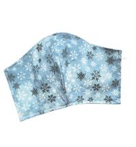 Blue Snowflakes Face Mask Silver Metallic Sparkle Cotton Adjustable Face... - $10.00