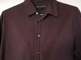 John Varvatos Shirt Large Maroon Navy Micro Striped Long Sleeve Button D... - $29.69