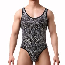 Men Bodysuit Leopard Shapewear Male Spandex Slimming Wrestling Body Shap... - $39.68