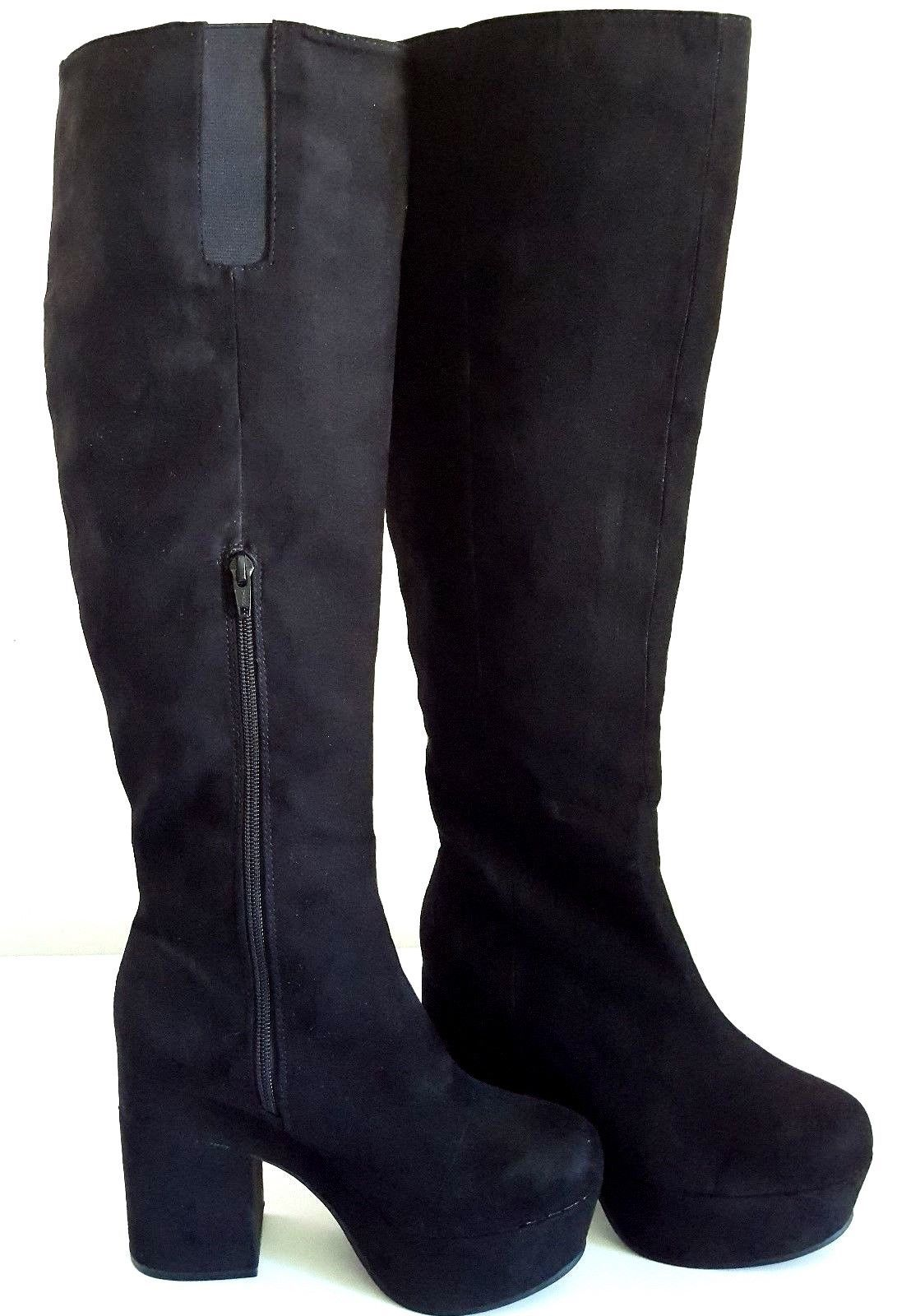 H&M DIVIDED – Women's Block Heel Suede-Like Black Over-the-Knee Boots – Size: 7 - $39.83