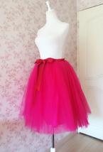 Adult Girls FUCHSIA HOT PINK Tulle Skirt Plus Size High Waisted Tutu Midi Skirt  image 2