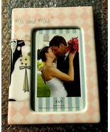 RUSS Mr And Mrs Wedding Photo Frame White Lace & Promises 4″ x 6″ Bride ... - $19.54